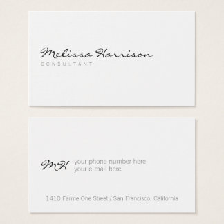 simple basic minimalist modern professional white business card