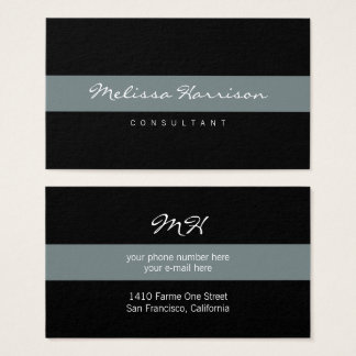 simple & basic professional black striped gray business card