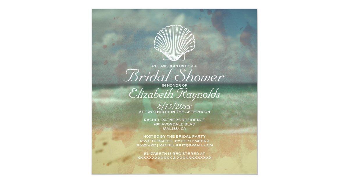 Simple Beach Destination Bridal Shower Invitations