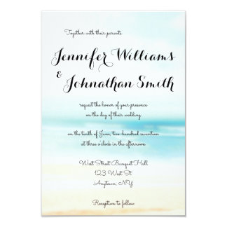 Simple beach destination wedding invitations