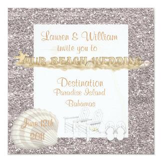 "SIMPLE Beach Wedding Invitations Crystal Sand 5.25"" Square Invitation Card"