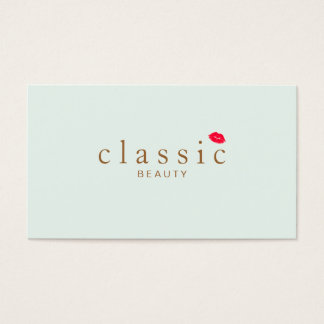 Simple Beauty Light Aqua Blue Red Lips Business Card