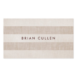 Simple Beige Stripes Earthy, Natural and Neutral Business Card Template