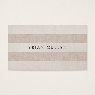 Simple Beige Stripes Earthy, Natural and Neutral Business Card