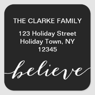 Simple Believe Holiday Address Label   Black White