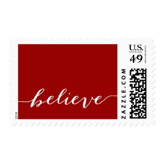 Simple Believe Holiday Greeting | Red White Postage