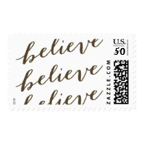 Simple Believe Holiday Greeting | Taupe Postage