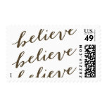Simple Believe Holiday Greeting   Taupe Postage Stamp