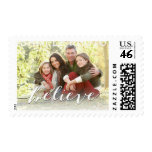 Simple Believe Photo Holiday Greeting | Green Postage Stamp