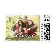Simple Believe Photo Holiday Greeting | White Postage Stamps