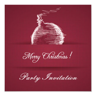 "simple berry red elegant christmas invitation 5.25"" square invitation card"