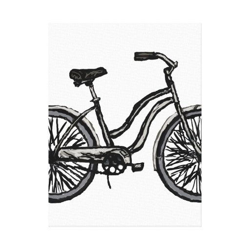 Line Drawing Wall Art : Simple bicycle line drawing wall art colors canvas print