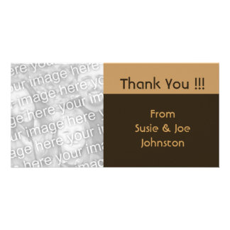 simple biege brown thank you card