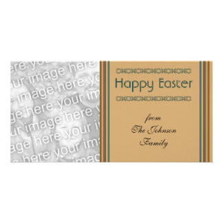 Simple biege Happy Easter Photo Card