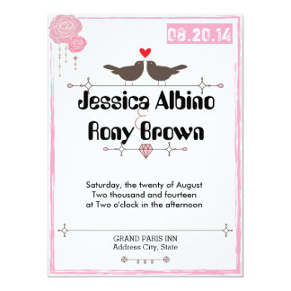 Simple Birds Pink Wedding Invitation