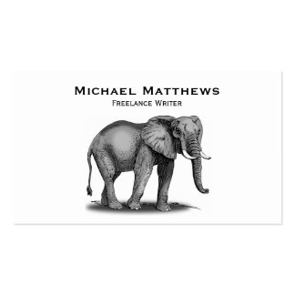Simple Black and White African Elephant Customized Business Card Template