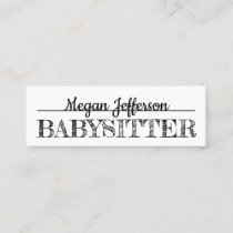 Simple Black And White Babysitter Nanny Minimalist Mini Business Card