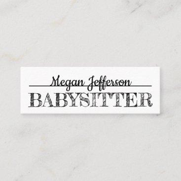 Simple Black And White Babysitter Nanny Minimalist Mini Business Card