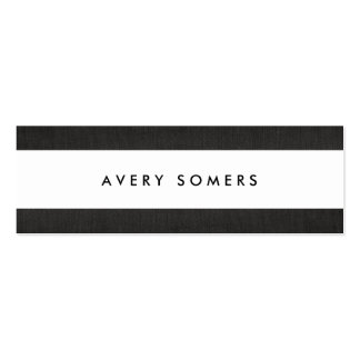 Simple Black and White Bold Stripe Stylish Double-Sided Mini Business Cards (Pack Of 20)