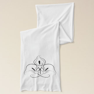 Simple Black and White Calla Lilies Sketch Scarf