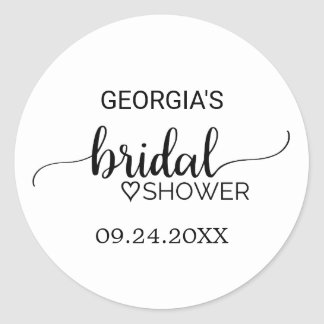 Simple Black and White Calligraphy Bridal Shower Classic Round Sticker