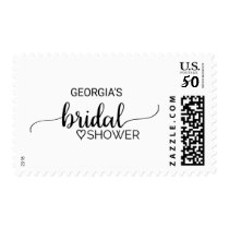 Simple Black and White Calligraphy Bridal Shower Postage