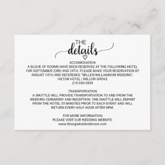 Simple Black and White Calligraphy Details Card