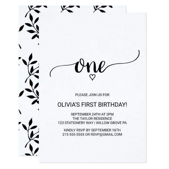 Simple Black And White Calligraphy First Birthday Invitation