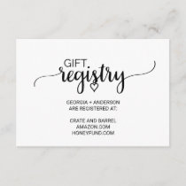 Simple Black and White Calligraphy Gift Registry Enclosure Card