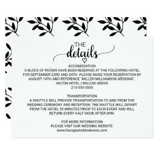 Simple Black and White Calligraphy Wedding Details Card