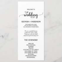 Simple Black and White Calligraphy Wedding Program