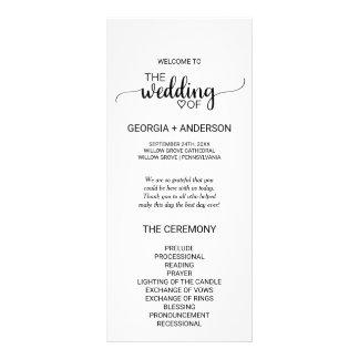 Simple Black and White Calligraphy Wedding Program