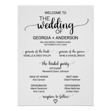 Valentines Themed Simple Black and White Calligraphy Wedding Program Poster