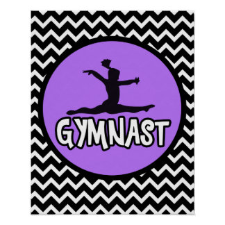 Simple Black and White Chevron Gymnast Poster