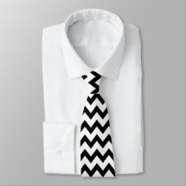 Simple Black and white Chevron pattern Tie