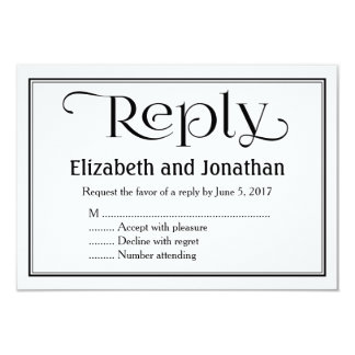 Simple Black and White Christian Wedding RSVP Card