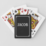 "Simple Black and White Customizable Playing Cards<br><div class=""desc"">Cool deck of playing cards in black with a simple white border, and plenty of space in the center for adding a name, business name, monogram, initials or other text. Personalized deck of cards makes a great stocking stuffer, or awesome gift for card players, poker players, spades players, bridge players,...</div>"