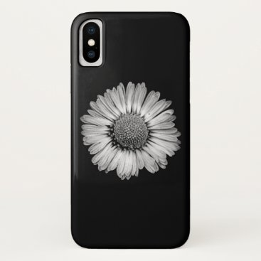 Simple Black and White Daisy Flower iPhone XS Case