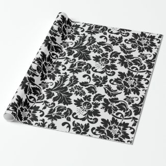 Simple Black And White Damask