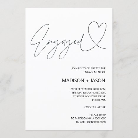 Simple Black and White Engagement Party Invitation
