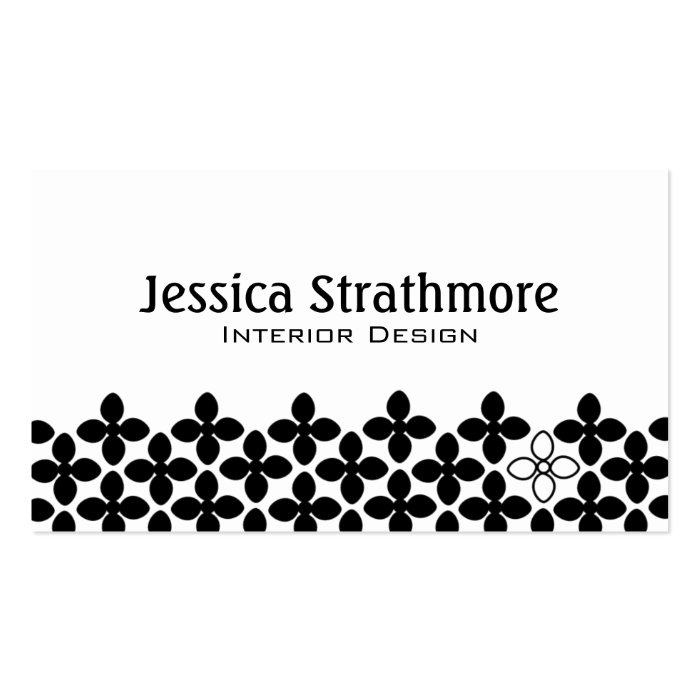 Simple Black and White Floral Business Card