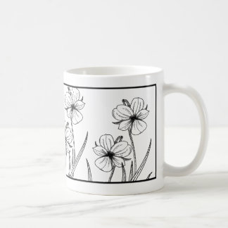 Simple Black and White Flowers Mugs / Cups
