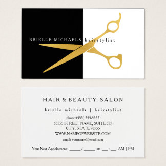 Simple Black and White Gold Scissors Hairstylist Business Card