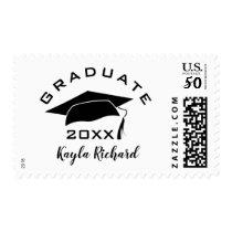 Simple Black And White Graduation Postage