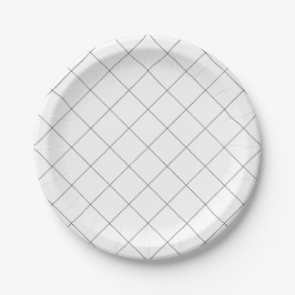 Simple Black and White Grid, Plaid Paper Plate