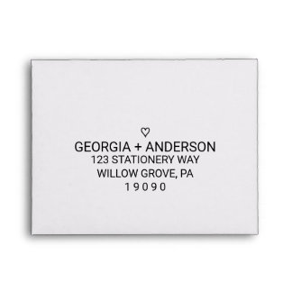 Simple Black and White Heart Printed Address RSVP Envelope