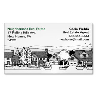 Simple Black and White Illustration of Homes Magnetic Business Cards (Pack Of 25)