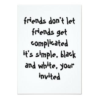 """Simple Black and White Invitation 5"""" X 7"""" Invitation Card"""