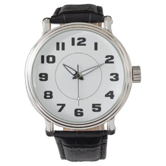 Simple Black and White Large Numbers Easy To Read Wrist Watch
