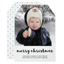 Simple Black and White Merry Christmas with Photo Card
